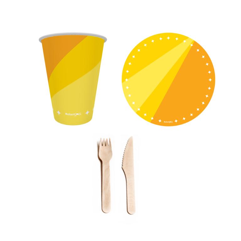 combo festa descartável amarelo 1