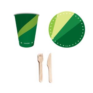 combo festa descartável verde 1