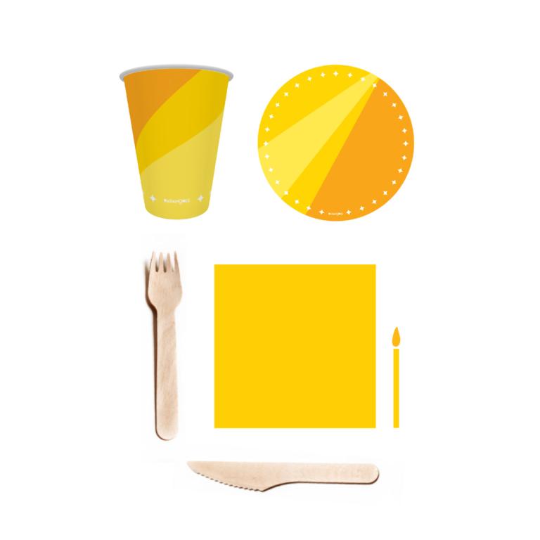 kit parabéns descartável amarelo 1